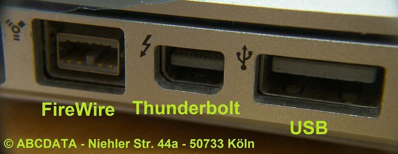 [Bild 2: Schnittstellen (A1286)] Die drei gängigen Schnittstellen zur Datenübertragung bei einem MacBook.
